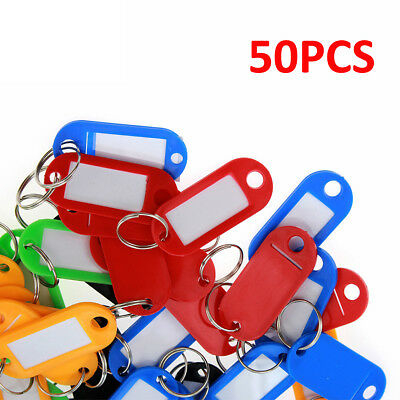 NEW 50X Plastic Key Tags Ring Luggage Card Name Label Keychain W/ Split Ring US