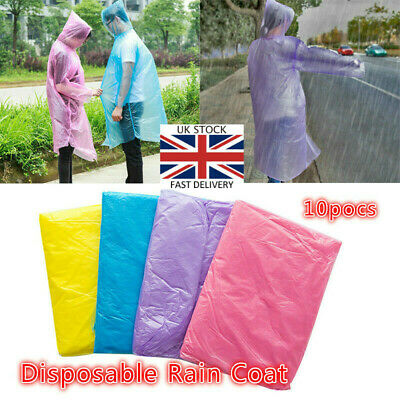 10pcs Disposable Adult Emergency Waterproof Rain Coat Poncho Hiking Camping Hood