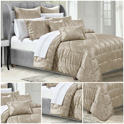 Jacquard 3 Piece Bedspread Quilted Bed Throw With Pillow Shams Double King Size