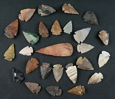 """26 PC Flint Arrowhead Ohio Collection Points 1-3"""" Spear Bow Stone Hunting 1521"""