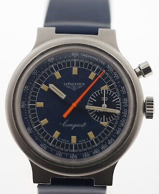 Longines Conquest Chronograph 1972 Olympics Valjoux Cal 236 Watch Blue Dial