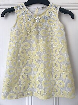 River Island Mini Baby Girl Pale Yellow Lace Dress Size 18