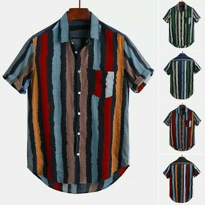 Men's Cotton Vertical Stripe Button Down Short Sleeve Summer Casual Shirts Tops