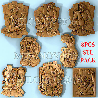 3d stl Model relief 8 pcs Pack for CNC Router Artcam