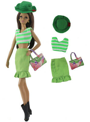 4in1 Set Fashion Outfit Top+skirt+bag+hat for 11.5 in. Doll d05