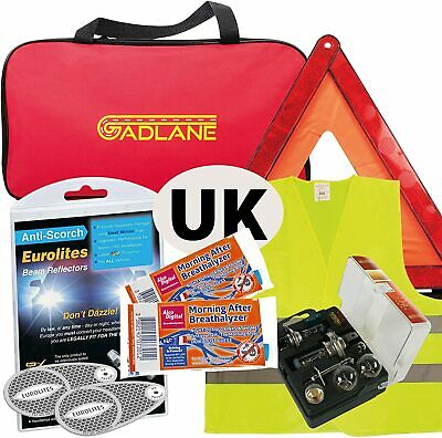 European Car Driving Travel Kit France Breathalyser Warning Triangle GB Plate