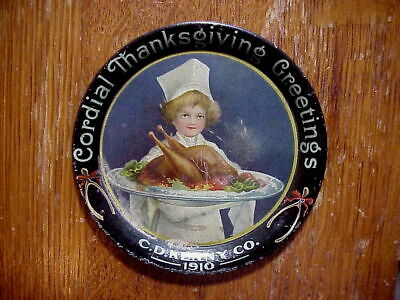 C.D.KENNY Co. 1910 CORDIAL THANKSGIVING GREETINGS Litho Tin TIP TRAY