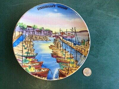 "Vintage Japan Fisherman's Wharf San Francisco, CA Hand Painted 6"" Souvenir Plate"