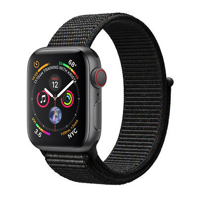 Apple Watch Series 4 LTE 44mm Aluminiumgehäuse Space Grau mit Sport Loop Schwarz