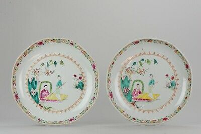 Pair 27.6cm of Antique Chinese 18th C Qianlong Famille Rose Plate Lady o...