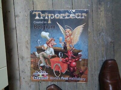 Triporteur reclame beer sign metal new in blister B..M. brewery World first malt
