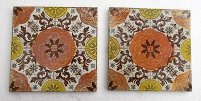 2 Antique Aesthetic Gothic Style Tiles marked M J& S 351