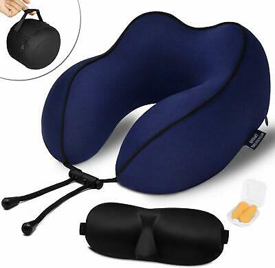 QAHEART Memory Foam Travel Pillow Neck Comfortable for Airplane w/ Sleep Mask