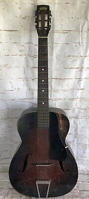 Antique 1930's Harmony F Hole 6 String Acoustic Guitar Parts/Repair/Restore L@@K