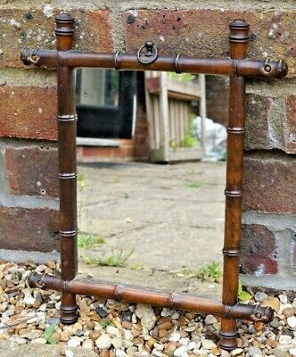 Vintage c1930 FAUX BAMBOO GLASS WALL MIRROR 33cm x 27cm