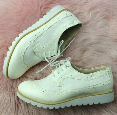 Ladies WHITE Brogue Lace Up Shoes Womens Oxford Smart Office Loafers Shoes Sizes