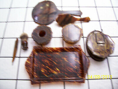 Vintage 8 Piece TORTOISE SHELL Patters Shaving/ Dresser Set