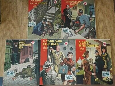 5x Sexton Blake Library 3rd Series (5) comic magazine war crime thriller vintage