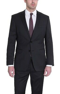 $650 DKNY Skinny Slim Fit Black Pinstriped Two Button 100% Wool Suit 36S 30W