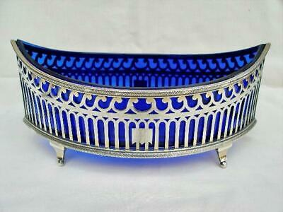 Superb Antique French Hallmarked Silver Navetté Table Dish By Piault Linzeler.