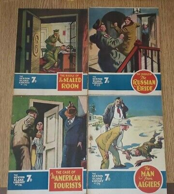 4 x Consecutive Sexton Blake Library comic magazine war crime thriller vintage