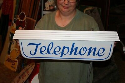 "Vintage 1950's Telephone Pay Phone Gas Oil 2 Side 22"" Lighted Metal Sign~Nice"
