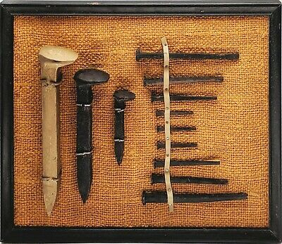"""ANTIQUE SQUARE HEAD BARN NAILS & RAILROAD SPIKES FRAMED DISPLAY 8""""x10"""""""