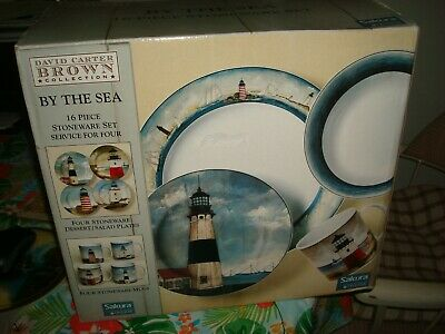 David Carter Brown - By the Sea - Dinnerware - 16 Pcs New in Box