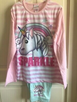BNWT Emoji Pyjamas Set. Pink. Girls. Age 6 - 13 Years. 'Sparkle' - Unicorn