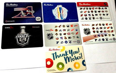 7x Tim Hortons Gift Card No $ Value Collectible reloadable x7 Alouettes-logos