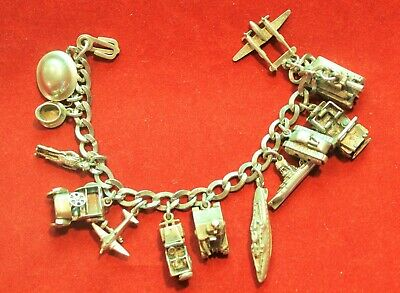 Antique World War 2 US Military Themed Silver Charm Bracelet Unique Jewelry