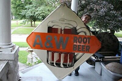 "Large Vintage 1950's A&W Root Beer Soda Pop Restaurant 63"" Embossed Metal Sign"