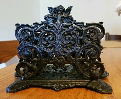 Vintage Cast Iron Ornate Cherub Angel Napkin/Letter Holder