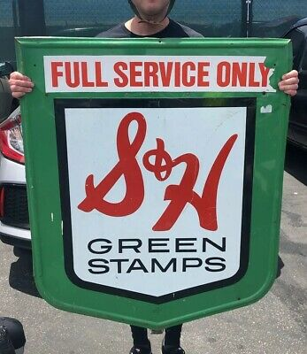 VTG S&H Green Stamps Embossed Metal Gas Station Sign Oil Tobacco Soda RARE 43""
