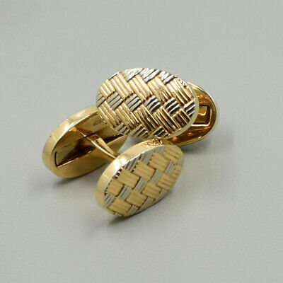 Tiffany & Co. 14KY & Sterling Silver Oval Ridge Style Crosshatch Cuff Links Pair