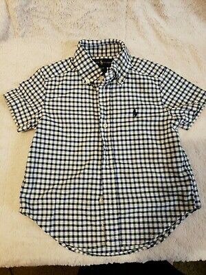 Polo Ralph Lauren Horsie Plaid Infant Toddler Boy Dress Shirt 2T Blue Green