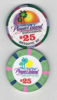 2 Vintage Players Island $25 Casino Chips - Mesquite Nevada - Book $100-$118