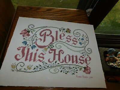 Bless This House Cross Stitch Panel COMPLETED Handmade Sampler