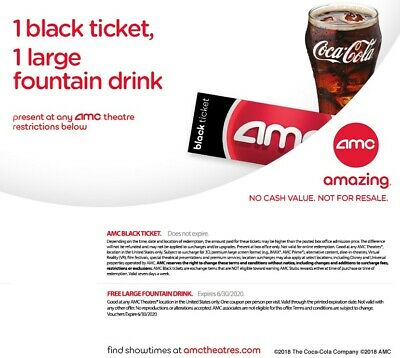 EMAIL DELIVERY - 2 AMC Black MOVIE TICKETS, 2 Large fountain DRINKS
