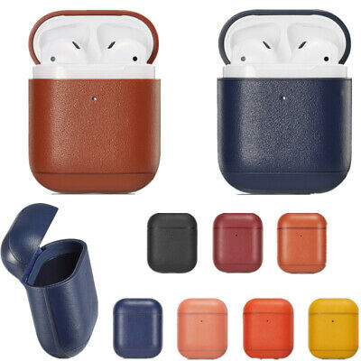 For Apple Airpods 1st Wireless 2nd Genuine Leather Shockproof Charging Box Cover