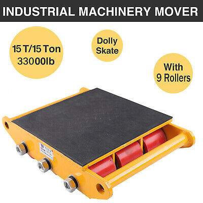 Machine Dolly Skate Machinery Roller Mover Cargo Trolley 15Ton 33000lbs 9Rollers
