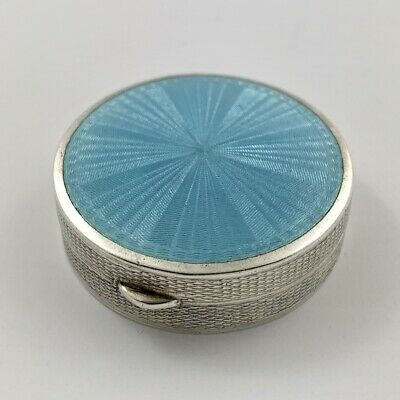 Superb Art Deco Sterling Silver & Enamel Trinket Pill Box - London 1928