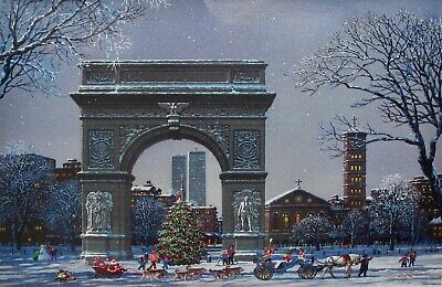 "ALEXANDER CHEN ""WASHINGTON SQUARE PARK"" Hand Signed Serigraph on Canvas Art"
