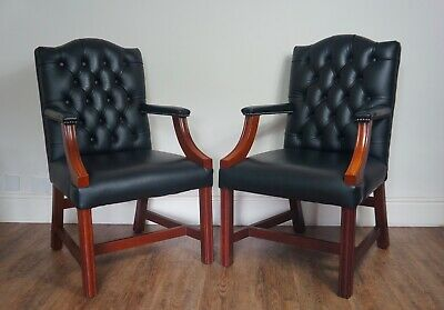 One George III Gainsborough Leather Chesterfield Office Desk Chair Armchair