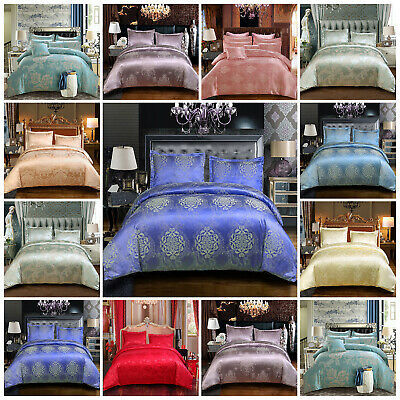 Satin Silk Complete Bedding Set Duvet Cover Flat Sheet 2 Pillow Case Double King