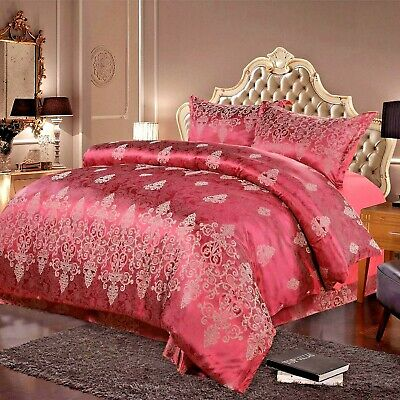 4 Piece Satin King Size Burgundy Duvet Cover Set With Flat Sheet & Pillow Cases