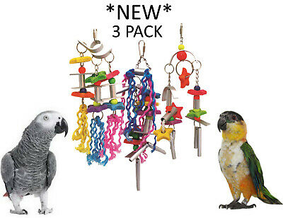 *New* 3 Pack Beaks Explorer Large Metal Rope Parrot Toy African Grey Toys Fe001