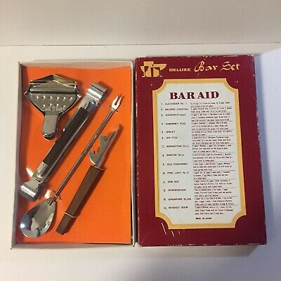 Vintage/Retro Deluxe Bar Set Home Bar. Cocktails List With Recipes, Original Box