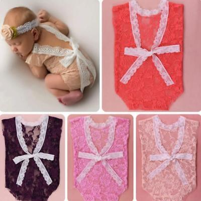 Baby Girls Lace Romper Photo Props Jumpsuit Clothes Outfit  FA