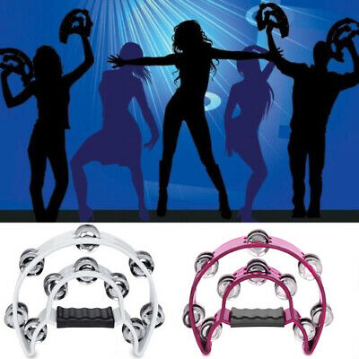 2PCS Single Row Half Moon Percussion Tambourine Drum Musical Instrument Jingles